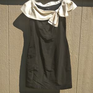 Silk sheath black sleeveless dress with cream bow